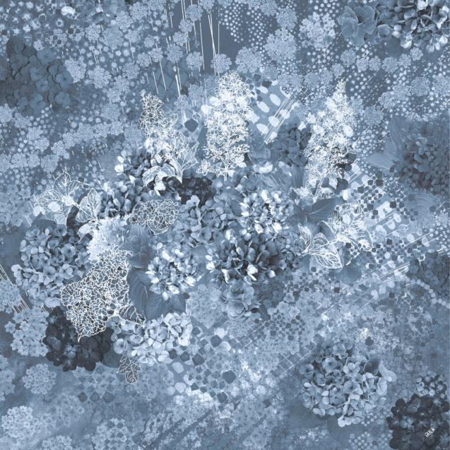 紫陽花シルクジョゼットスカーフ