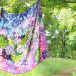水の器紫陽花浮べて,スカーフ,シルク
