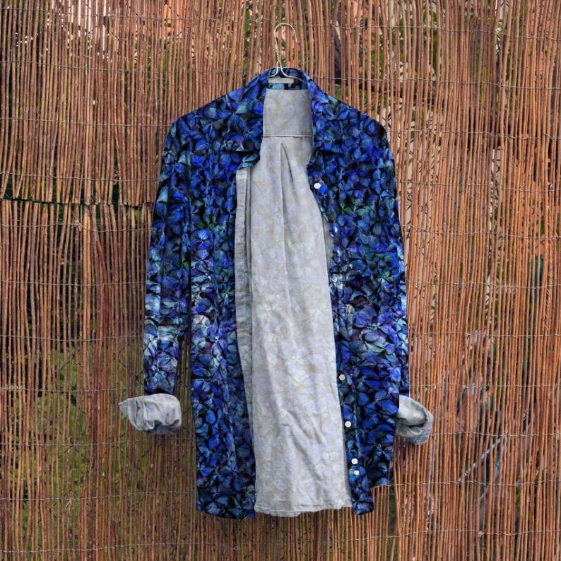 紫陽花のパッチワーク シャツ