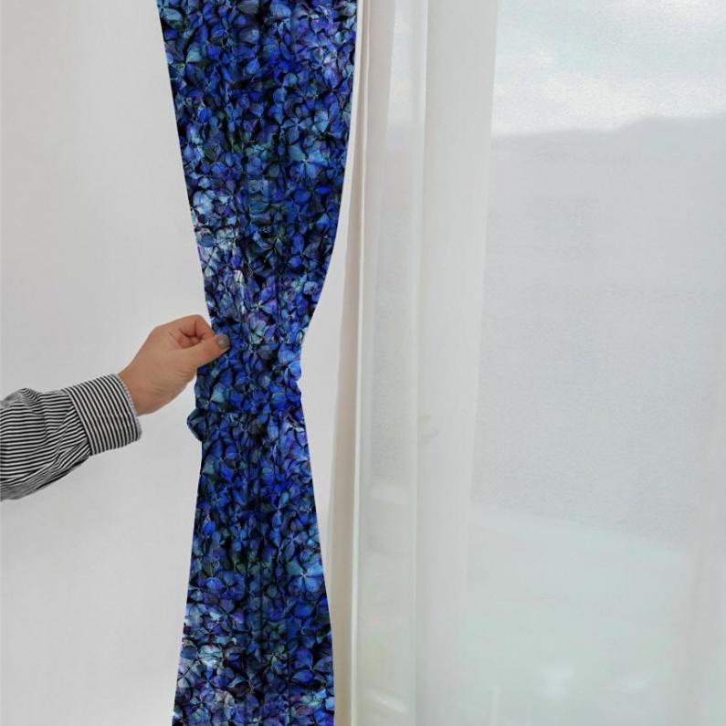 紫陽花のパッチワーク カーテン