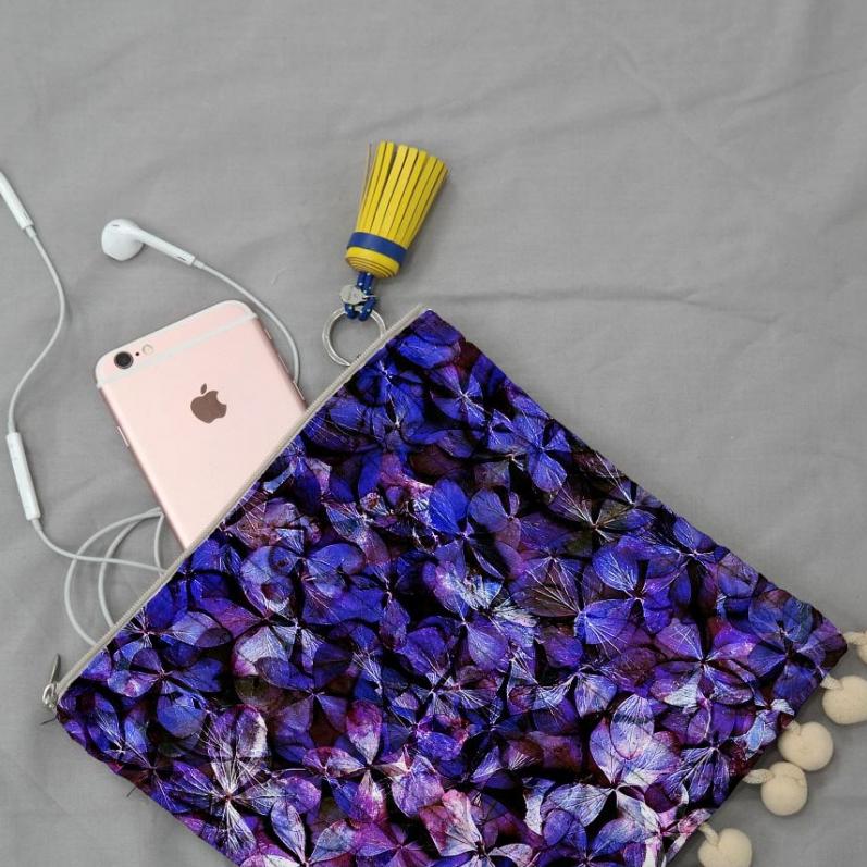 紫陽花のパッチワーク ポーチ
