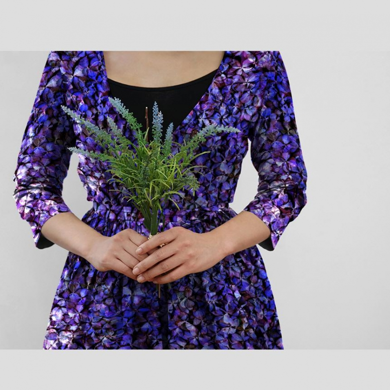 紫陽花のパッチワーク ワンピース
