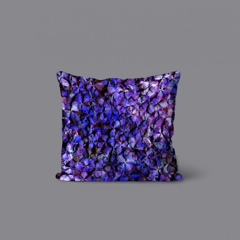 紫陽花のパッチワーク クッション